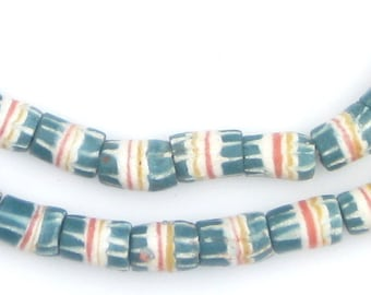 44 Teal Strawstack Beads - African Krobo Beads - Blue African Beads - Powder Glass Beads - Striped Blue Beads (KRB-CYL-MIX-115)