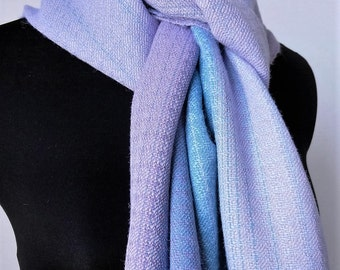 Alpaca and Bamboo Warm Winter Scarf, Handwoven Luxury Neckwear, Blue and Lavender Scarf, Gift for Her