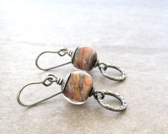 lampwork glass earrings, earthtone dangle earrings, metalwork earrings, sterling silver jewelry, oxidized silver, multi color drop earrings