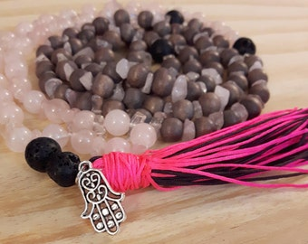 Mala Necklace, Yoga Necklace, Meditation Necklace, Natural Stone Necklace, Wood Bead Necklace, Rose Quartz Necklace, Quartz, Hemsa Hand