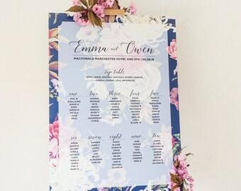 PRINTABLE Floral Wedding Seating Table Plan
