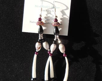 Black and Purple Shell Earrings