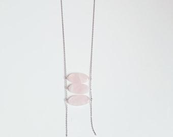 Long Rose Quartz Ellipse Necklace