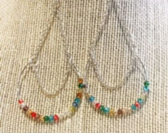 Multicolor bead earring, chain link dangle earring, crystal bead