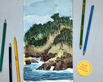 California Coastal Watercolor 4/6 - ORIGINAL ART - Frame Optional