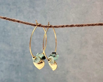 Gold-filled earrings with heart charms and turquoise beads