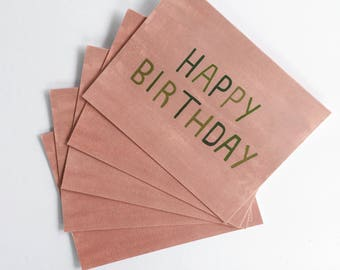 Happy Birthday greeting cards -  set of five 5.5 x 4