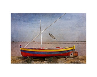 Fishing Boat, Primary Colors, Seaside, Salt Flats, South of France, Rustic Scene