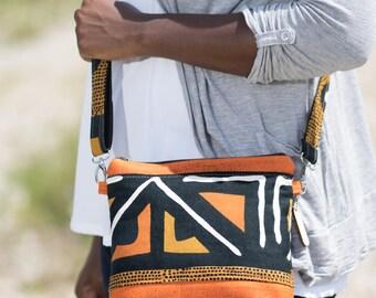 crossbody travel purse, crossbody purse zipper, crossbody purses for women, crossbody boho bag, african bag, mudcloth textiles, cross body