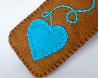 Heart Cell Phone Case, Eyeglass Case, Heart On A String Custom Colors