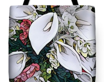 Calla Lily Tote Bag,Floral Bag,Shoulder Bag,Bridesmaid Tote,Designer Bag,Wedding Tote,Flowers Bag,Bridesmaid gift,Lilies bag,flowers Tote