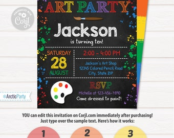 Art Party Invitation - Art Invitation - Art Birthday Party - Painting Party - INSTANT ACCESS - Edit NOW with Corjl.com in your browser!