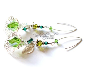 Long Green flower earrings - handmade st Patrick's day jewelry - gifts for wife - fashion jewelry with Swarovski and Czech crystals