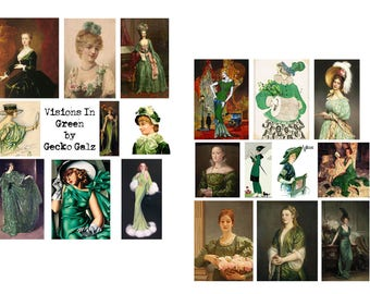 Visions in Green Digital Collage Set