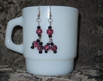 Pink and Glass Beaded Dangles