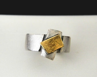 gold 24k with silver argentium ring
