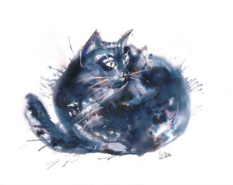 Fat Cat, Ink and watercolour painting, Black Cat