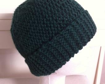 Green alpaca wool hat