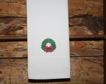 Christmas Huck Towel with Cross Stitched Wreath.