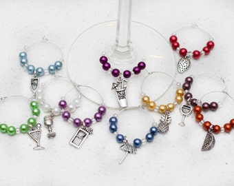 Cocktail Asst. Wine Charms, Set of 10, Free Shipping