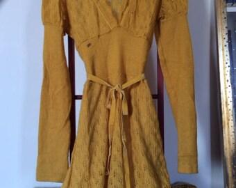 Miss Sixty Yellow Wool dress size 10