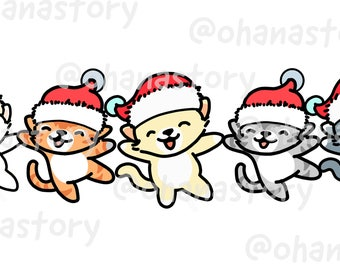 5 Cats Happy Holidays - DIGITAL DOWNLOAD