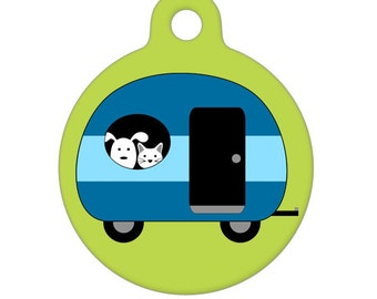 Pet ID Tag - Camping with My Best Friends - Blue, Pet Tag, Dog Tag, Cat Tag, Luggage Tag, Child ID Tag