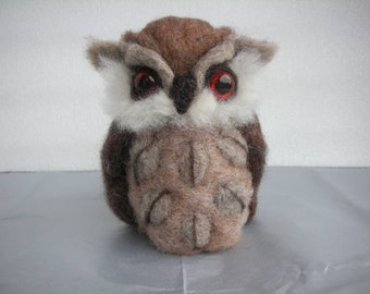 Hand Made Needle Felted Brown Owl