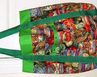 Foodie Tote Bag Green with Cans and Veggies