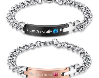 I am hers, He is mine Stainless Steel Matching Bracelets Couples bracelet