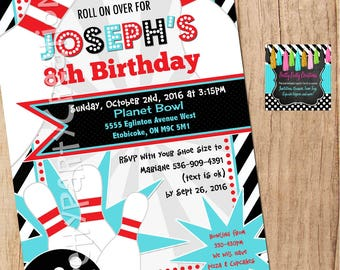 Red and Teal BOWLING invitation - YOU PRINT