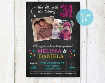 3rd Birthday Invitation for twins | Personalized Chalkboard collage photo invite for twin girls and twin boy - party invite |  DIGITAL file!