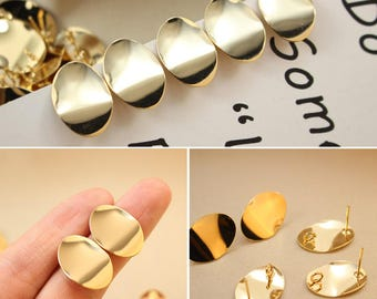 5PCS High Quality Gold Plated Brass Oval Ear Stud- Earring Stud- Ear Wire - 2*1.4CM