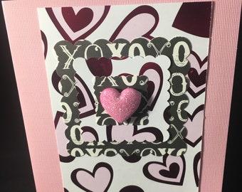 Pink Hearts Pink Glitter Heart Note Card Blank