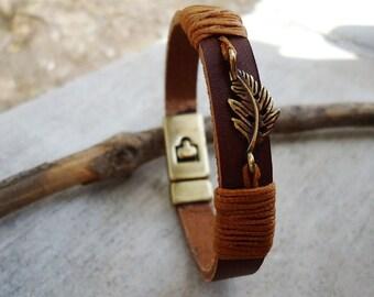 Leather Handmade Bracelet, Leaf Leather Bracelet,Leather Cuff,Leather Jewelry, Leather Womens Bracelet,Leather Cuff Bracelet