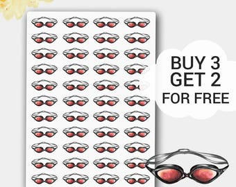 Swimming Stickers, Swimming goggles, Swimming Planner Stickers, Fits all Planners