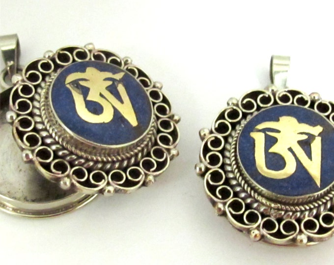 Tibetan Om Ghau prayer box filigree pendant with lapis inlay - PM256D