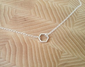 Necklace Silver Hexagon