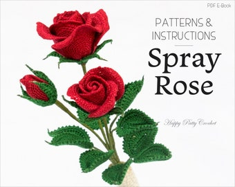 Crochet Rose Pattern - Crochet Flower Pattern - Crochet Pattern for Decor and Flower Arrangements