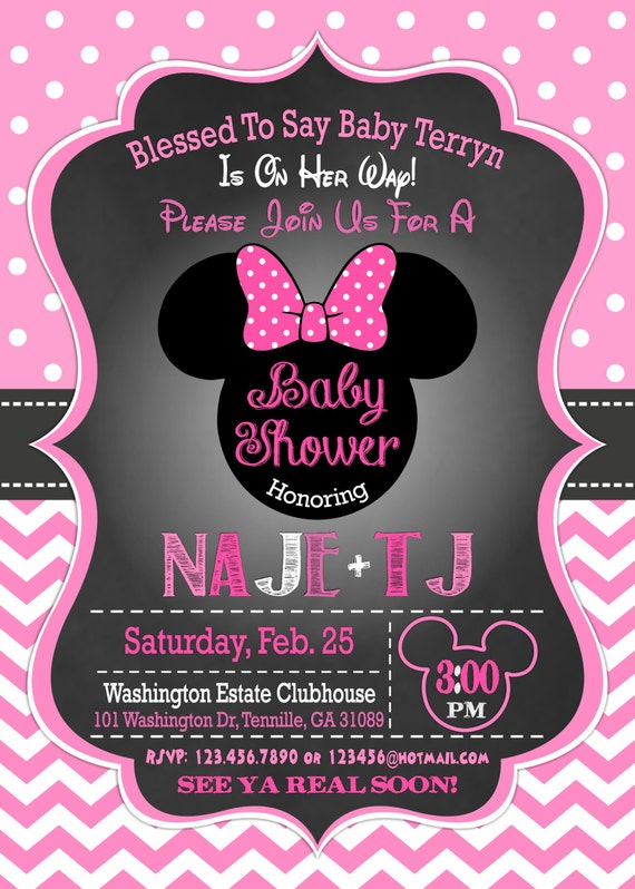 Beautiful Minnie Mouse Baby Shower Invitation, Minnie Mouse Baby Shower, Baby Girl  Minnie, Minnie Mouse Baby Shower Invites, Pink