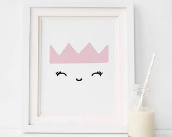 Girls room wall decor, Crown Nursery Print, Girl Nursery Art, Instant Download Baby Girl Decor, Nursery Wall Art, Girls Room Art, Baby Print