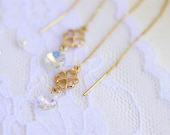 Teardrop dangle earrings, Threader earrings, Clover earrings, Gold clover earrings,  Gold drop earrings, Teardrop earrings, Long earrings