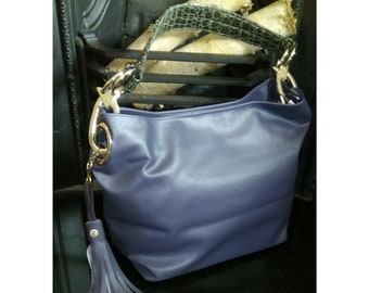 Blue Handbag, Women's Vegan Hobo Handbag, Vegan Leather bag, Faux Handbag, Gift For Her, Shoulder Bag, Slouchy Bag, Re purposed