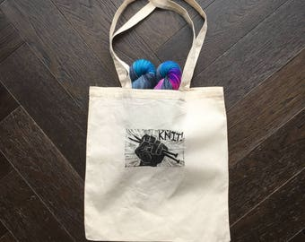 Knit Fist hand-printed Tote bag