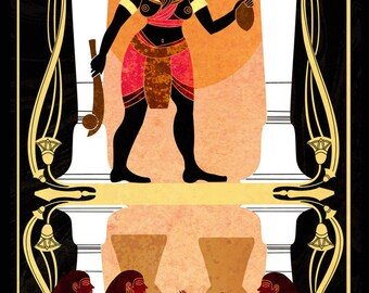 Offering of Beer - ancient Egyptian mythology illustration