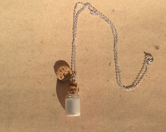 Necklace, pendant bottle with milk and cookie