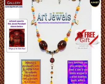 Art Jewel Necklace with  acrylic oversized amber - plus a Jewelry gift FREE