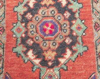 Turkish rug vintage rug pastel rug small rug oushak rug 2.7ft_1.4ft