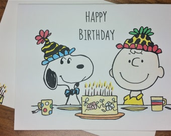 Charlie brown card etsy hand drawn charlie brown snoopy happy birthday card 5 x 7 with embellished bookmarktalkfo Gallery