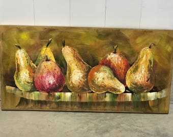 Large Acrylic Painting of Pears on Canvas USA Artist Guild of America (CA)